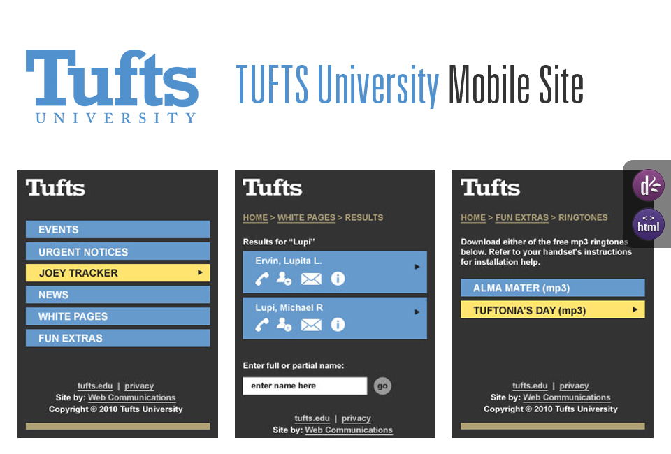 TUFTS University Mobile Site