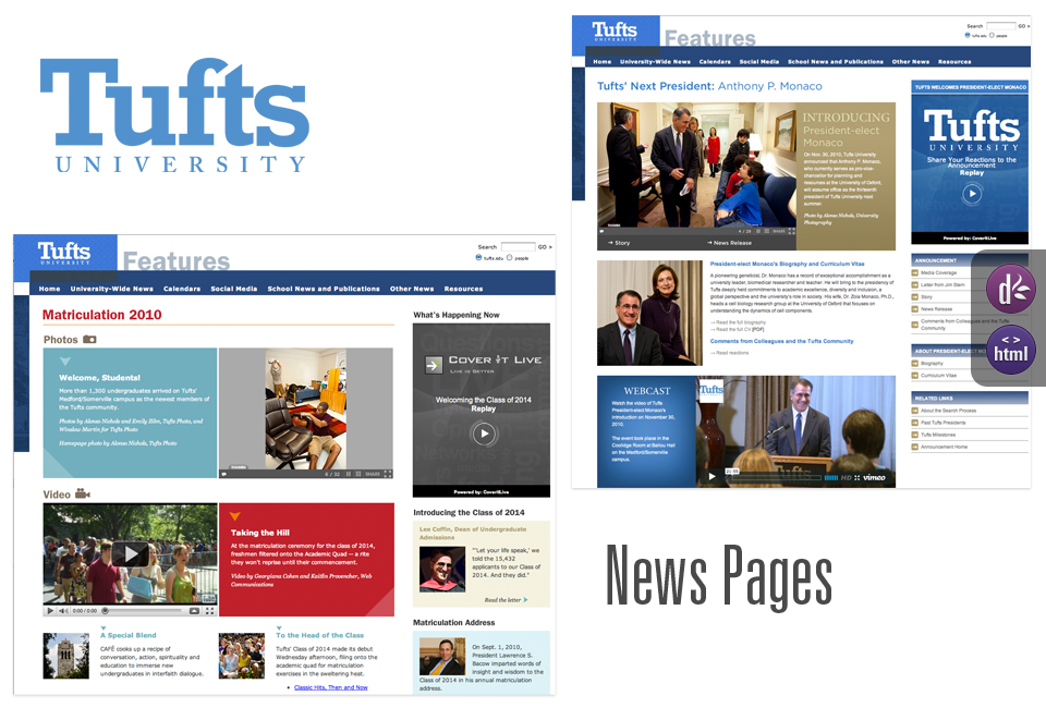 TUFTS News Features pages